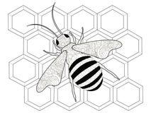 昆虫,在蜂窝的一只蜂 反重音着色,成人的传染媒介 免版税图库摄影