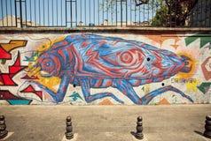 昆虫类型在解释绘的可怕以街道画的形式在伊斯坦布尔 免版税图库摄影