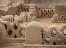 昌昌-特鲁希略角,秘鲁古老废墟  免版税库存照片