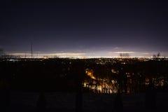黎明、NYC和纽瓦克NJ,从NJ 免版税图库摄影