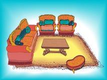 明亮内部沙发的扶手椅子 图库摄影