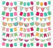 明亮和五颜六色的婚礼、假日、生日或者党旗布的汇集 免版税库存图片