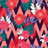 明亮和五颜六色的手拉的夏威夷热带叶子设计减速火箭的无缝的样式传染媒介 库存照片