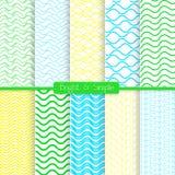 明亮和简单的黄绿色和蓝色样式集合 免版税库存照片