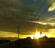 明亮地发光的太阳 库存照片