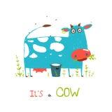 明亮地色的乐趣母牛和牛奶孩子的 免版税库存图片
