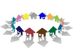 明亮地色的房子环形符号 免版税库存图片