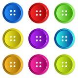 明亮地色的缝合的按钮 免版税库存照片
