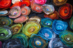 明亮地色的织品 免版税库存照片