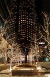 明亮地被点燃的圣诞节在街市多伦多装饰了在一个摩天大楼前面的胡同夜 免版税库存照片
