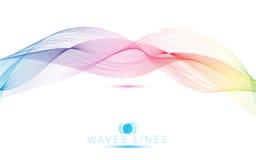 明亮彩虹波浪五颜六色的梯度光混合的线 库存图片