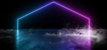 明亮烟真正霓虹激光发光的紫色蓝色梯度充满活力的展示夜黑暗的空的难看的东西具体形状的光 皇族释放例证