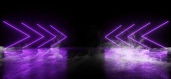 明亮烟真正霓虹激光箭头发光的紫色紫罗兰色充满活力的展示夜黑暗的空的难看的东西具体形状的光 皇族释放例证