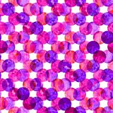 明亮的万花筒,蒙太奇圆点五颜六色摘要的难看的东西飞溅在桃红色的纹理水彩无缝的样式设计 皇族释放例证