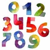 明亮的与水彩数字的光栅手拉的集合,画与刷子和梯度颜色 粒状例证计数和12月 库存照片