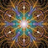 明亮的五颜六色的分数维花背景 库存照片