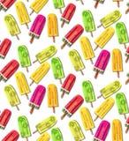明亮的五颜六色的可口美味的夏天新鲜的黄绿色红色点心结冰的汁液柠檬、西瓜和猕猴桃传染媒介的样式 库存照片