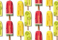 明亮的五颜六色的可口美味的夏天新鲜的黄绿色红色点心结冰的汁液的样式 库存图片