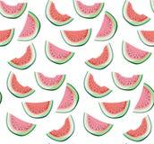 明亮的五颜六色的可口鲜美美味的成熟水多的逗人喜爱的可爱的红色夏天新点心切片西瓜样式 向量例证