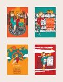 明亮的五颜六色的手拉的海报致力对书的爱 库存照片