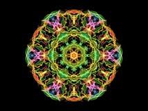 明亮的五颜六色的抽象火焰坛场花,在黑背景的装饰花卉圆的样式 瑜伽题材 向量例证