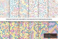 明亮的五颜六色的无缝的传染媒介样式的汇集-镶边曲线几何设计 库存例证
