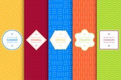 明亮的五颜六色的无缝的几何样式的汇集- minimalistic设计 向量例证