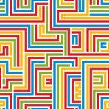 明亮的五颜六色的迷宫无缝的样式 免版税库存图片