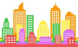 明亮的五颜六色的都市风景背景,现代建筑学 免版税库存图片