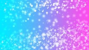 明亮的光、Bokeh和闪烁的闪闪发光在浅兰和桃红色背景中 向量例证