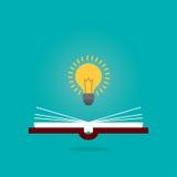 明亮的创造性的在开放书的想法电灯泡,认为想法概念,平的样式例证 免版税库存图片
