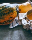 明亮的南瓜,一个罐南瓜汤 免版税库存图片