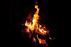 明亮的发光的篝火在阵营的晚上 免版税库存图片