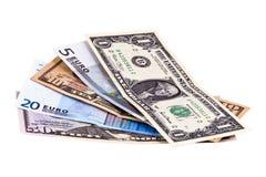 明亮的另外被设置的美元欧洲附注 免版税图库摄影