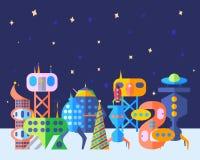 明亮的地球外的未来城市在动画片平的样式设置了 免版税库存图片