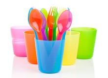 明亮的塑料碗筷, 库存图片