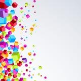 明亮的塑料立方体飞行边界明亮的背景 免版税库存图片