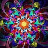 明亮的多彩多姿的分数维花 库存照片