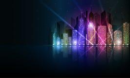 明亮的夜都市风景 库存图片