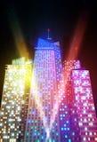 明亮的夜都市风景 免版税库存照片