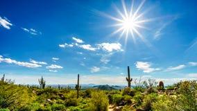 明亮的太阳发出光线在太阳的谷与市的菲尼斯从Usery山Reginal公园观看了 库存照片