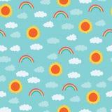 明亮的太阳,彩虹,覆盖样式 库存例证