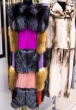 明亮的女性皮大衣 库存照片