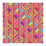 明亮的小条和正方形的无缝的样式 向量例证