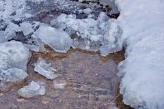 明亮的小河在冬天 冰雪水流量石头 免版税库存图片