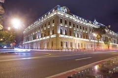 明亮的巴库夜 巴库全景  夜路线在巴库 阿塞拜疆的首都的城市视图,在阿塞拜疆 免版税图库摄影