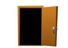 明亮的开放动画片褐色木的门 免版税库存图片