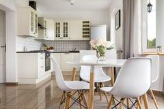明亮的开放学制厨房的看法 免版税库存图片
