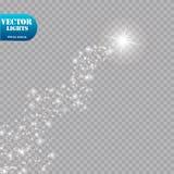 明亮的彗星与 流星 焕发光线影响 也corel凹道例证向量 免版税库存图片