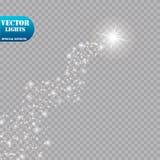 明亮的彗星与 流星 焕发光线影响 也corel凹道例证向量 库存图片